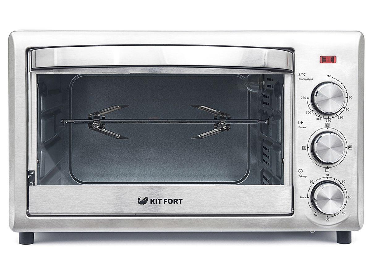 Kitfort КТ-1701 духовка электрическаяКТ-1701Электрическая духовка Kitfort КТ-1701 имеет небольшие размеры и позволяет готовить не только те же блюда, что и в обычной духовке, но и гораздо больше. Духовка Kitfort КТ-1701 оснащена двумя нагревателями (нижним и верхним) и позволяет включать их в любой из трех комбинаций: с нагревом сверху, снизу, одновременно сверху и снизу с конвекцией. В духовке можно приготовить мясо, курицу-гриль, тосты, пиццу, запечь или потушить овощи и рыбу, испечь хлеб, пирог, торт и другие изделия из теста. Вращающийся вертел позволяет приготовить 2,5 кг пищи. У электрической духовки Kitfort КТ-1701 процесс приготовления управляется при помощи надежной и простой механической системы управления с вращающимися ручками. В вашем распоряжении есть термостат до 230 оС, таймер со звуковым сигналом на 60 минут и переключатель режимов, дающий возможность выбрать один из четырех режимов приготовления: разморозка, гриль, выпечка, конвекция. Дверца духовки...