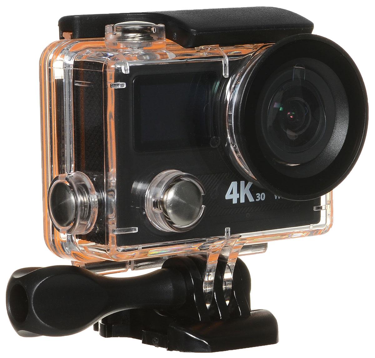 Eken H8 Ultra HD, Black экшн-камераH8Экшн-камера Eken H8 Ultra HD позволяет записывать видео с разрешением 4К и очень плавным изображением до 30 кадров в секунду. Камера имеет два дисплея: 2 TFT LCD основной экран и 0.95 OLED экран статуса (уровень заряда батареи, подключение к WiFi, режим съемки и длительность записи). Эта модель сделана для любителей спорта на улице, подводного плавания, скейтбординга, скай-дайвинга, скалолазания, бега или охоты. Снимайте с руки, на велосипеде, в машине и где угодно. По сравнению с предыдущими версиями, в Eken H8 Ultra HD вы найдете уменьшенные размеры корпуса, увеличенный до 2-х дюймов экран, невероятную оптику и фантастическое разрешение изображения при съемке 30 кадров в секунду! Управляйте вашей H8 на своем смартфоне или планшете. Приложение Ez iCam App позволяет работать с браузером и наблюдать все то, что видит ваша камера.