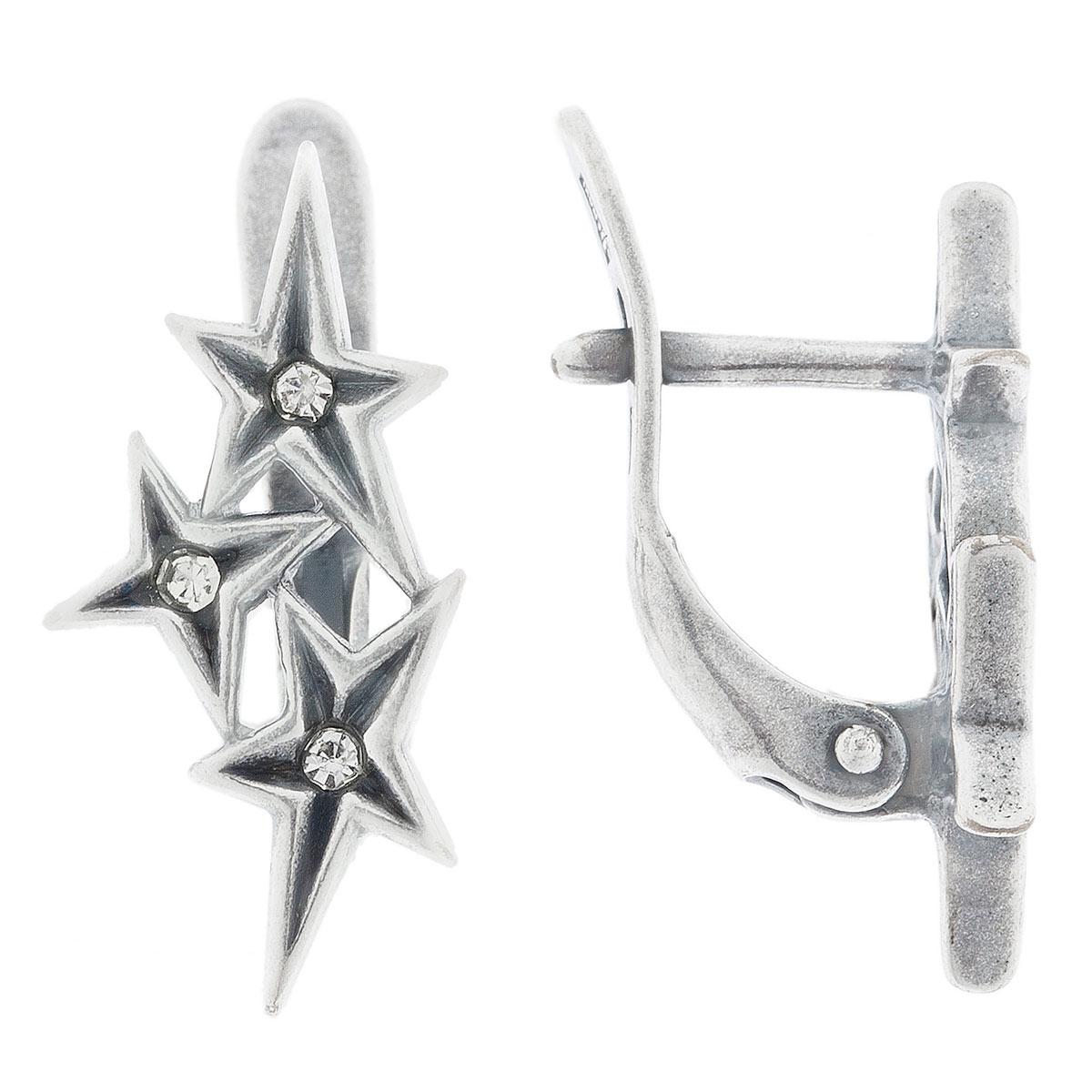 Серьги Jenavi Celebrity. Асцелла, цвет: серебро, белый. e0603100e0603100Коллекция Celebrity, Асцелла (Серьги) гипоаллергенный ювелирный сплав,Черненое серебро, вставка Кристаллы Swarovski , цвет - серебро, белый