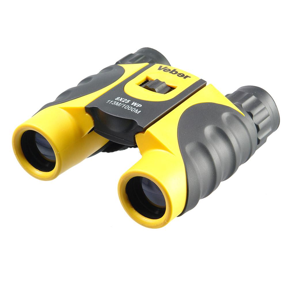 Бинокль Veber, цвет: черный, желтый, 8x25 WP20764Яркий, компактный, эргономичный, с азотным наполнением от запотевания оптики. Защита от ударов и небрежного обращения, допускается кратковременное погружение в воду. Качественная картинка без искажений. <br <br ОПИСАНИЕ <br Бинокль увеличением 8-крат. Специальная компактная модель для любителей активного образа жизни, азотное заполнение. Ярко-желтый бинокль не затеряется ни в зеленой траве ни на берегу озера. Veber WP 8x25 хорошо смотрится как в руках горнолыжника, так и в руках яхтсмена. <br Внутренняя оптика бинокля не запотеет при переходе из тепла в холод. Не боится влажности, тумана, дождя, выдерживает краткосрочные погружения в воду. <br Толстая резина корпуса защитит оптику от ударов. <br С биноклем просто и комфортно работать. Фокусировку и диоптрийную подстройку окуляра можно проводить даже в перчатках. <br Качество картинки значительно выше среднего. <br <br Особенности <br Влагозащищенный <br Roof призмы <br Обрезиненный корпус ...