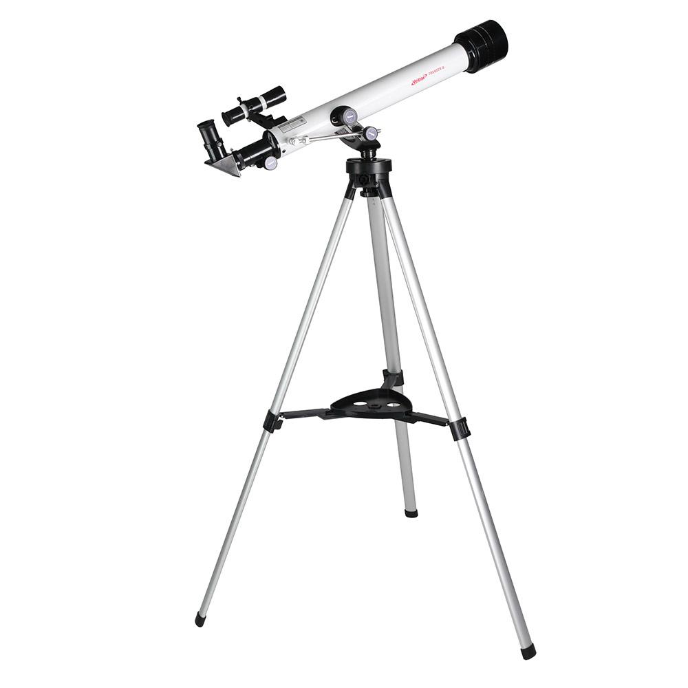 Veber 21161, White телескоп21161Veber 21161 - походный вариант телескопа в жестком противоударном кейсе и с богатой комплектацией. В жесткий противоударный кейс размером 750 мм на 340 мм (и крышка и дно кейса сделаны из двух слоев пластика, разделенного воздушным промежутком), уместился сам телескоп, штатив с полочкой, четыре окуляра, компас, фокусер… Его можно брать с собой для вылазок на природу и использовать как мощную зрительную трубу днем, а как телескоп — в темное время суток. Минимальное увеличение — 35х, максимальное — 262х. Промежуточные значения увеличений обеспечиваются подбором соответствующих окуляров и линзы Барлоу, входящих в комплект. Удобная альт-азимутальная монтировка. Чтобы управлять телескопом по горизонту, следует вращать большое кольцо на головке штатива. Движение по вертикали: быстрая наводка делается трубой вручную и найденное положение фиксируется стопором, далее точная настройка осуществляется уже с помощью колесика, расположенного на рычаге тонкой...