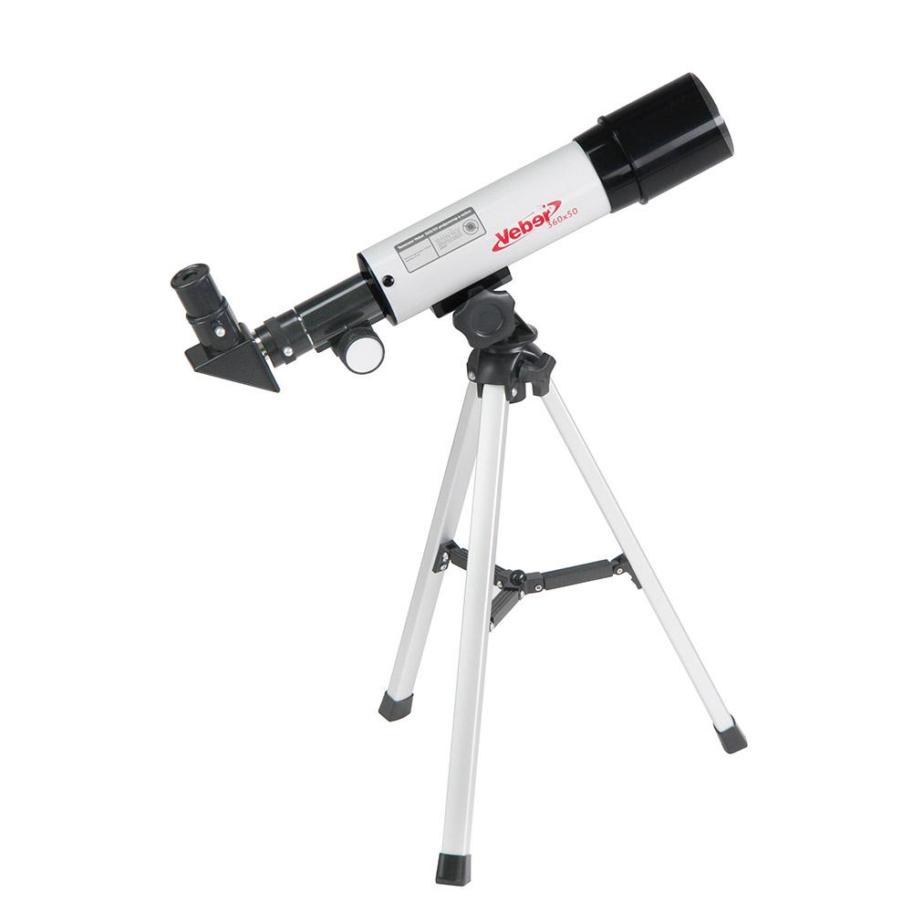 Veber 22980, White телескоп22980Veber 22980 - отличный подарок для вашего ребенка! Возможно, он станет первым научным прибором в его жизни. Его можно использовать и днем и ночью. Днем — как обычную подзорную трубу, а ночью, естественно, по прямому назначению. Телескоп дает прямое (не перевернутое) изображение. Что можно в него увидеть? В него можно увидеть лунные кратеры диаметром больше 10 км, Марс, Сатурн и фазы Венеры. С помощью сменных окуляров, можно получить увеличение от 18х до 90х. Окулярная часть с 90° зеркалом позволяет удобно вести наблюдение, разместив прибор просто на столе (высота штатива 360 мм). Наблюдения днем лучше вести при увеличении 18х (с окуляром 20 мм), тогда ближняя точка фокусировки будет около 5 метров. Прибор удобно укладывается в противоударный двухслойный кейс для переноски. Сборка занимает не больше трех минут. Так с ним удобнее выезжать загород, где и небо чище и лучше видны звезды и окружающие пейзажи.