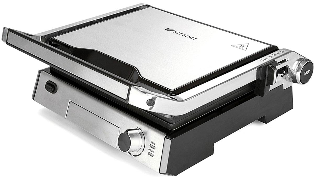 Kitfort КТ-1601 электрогрильКТ-1601Контактный электрический гриль Kitfort КТ-1601 позволяет приготовлять стейки, овощи, рыбу, бутерброды, гренки и многое другое. Ребристая поверхность рабочих пластин и высокая температура приготовления способствуют удалению излишков жира из продуктов. Конструкция 3 в 1 позволяет использовать гриль в трех режимах. В двухстороннем режиме гриль закрывается крышкой, и продукты готовятся одновременно с двух сторон. В режиме с приподнятой крышкой верхняя крышка нависает над готовящимися продуктами, но не касается их. Это бывает необходимо в случае, если требуется двусторонний нагрев, но куски продуктов имеют неодинаковую толщину, либо если требуется исключить давление крышки на них. Например, в этом режиме можно приготовить бутерброд или разогреть пиццу. В одностороннем режиме крышка гриля откидывается на 180 градусов, и гриль превращается в большую жаровню. Для приготовления можно использовать обе поверхности. Гриль оснащен термостатом с...