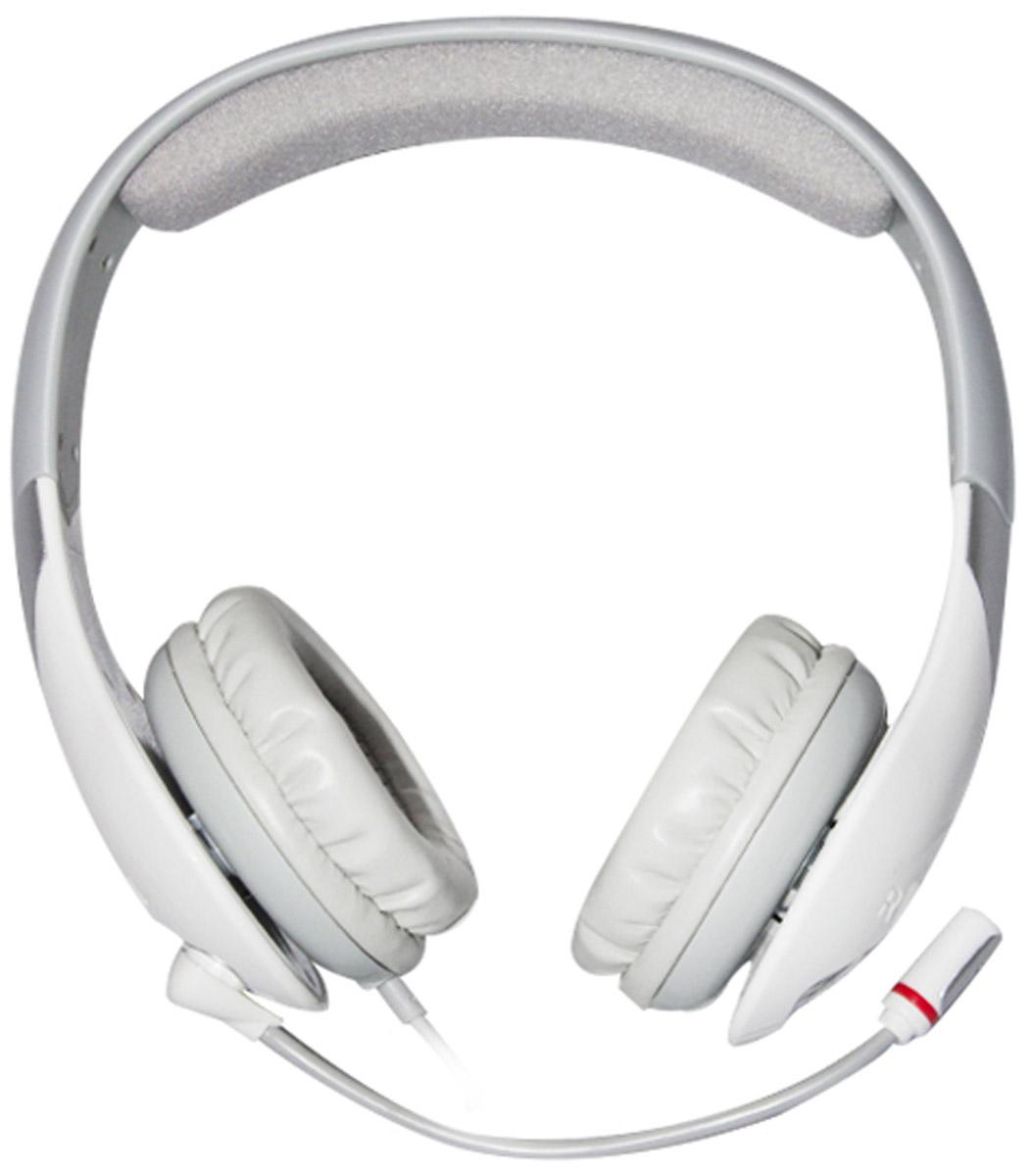 Qcyber Neon, White игровые наушникиGH7000whiteарнитура имеет встроенную звуковую плату системы 7.1 с поддержкой Dolby Headphone и Pro Logic, а это означает, что игровая гарнитура Neon White позволяет насладиться глубоким, насыщенным и невероятно точным пространственным звучанием. Каждый из восьми звуковых каналов будет работать на вашу победу – определить направление вражеского выстрела с гарнитурой Qcyber Neon White станет проще простого! Каждая из чашек наушников закреплена на подвижном кронштейне. Данная конструкция обеспечивает максимально точную подстройку для идеальной посадки. Мягкие амбушюры из эко-кожи очень приятны в использовании и благодаря своим небольшим размерам плотно прилегают к ушам, что положительно влияет на эффективность шумоизоляции. Регулируемое оголовье гарантирует непревзойденный комфорт. Обшито мягким материалом, что еще больше повышает уровень удобства. На Qcyber Neon White установлен всенаправленный микрофон с функцией шумоподавления. Если вы общаетесь или играете в...