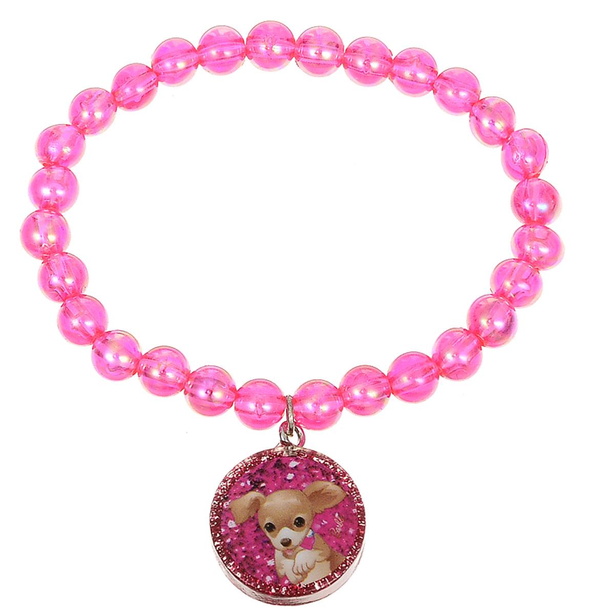 Браслет для девочки Barbie, цвет: розовый. 0905103309051033Оригинальный браслет Barbie станет изюминкой образа юной леди. Изделие изготовлено из гипоаллергенных материалов, не имеет заостренных деталей и абсолютно безопасно для ребенка. Браслет выполнен из бусин, собранных на эластичной резинке, и декорирован подвеской с изображением трогательного щенка. Рекомендуемый возраст: от 3х лет.