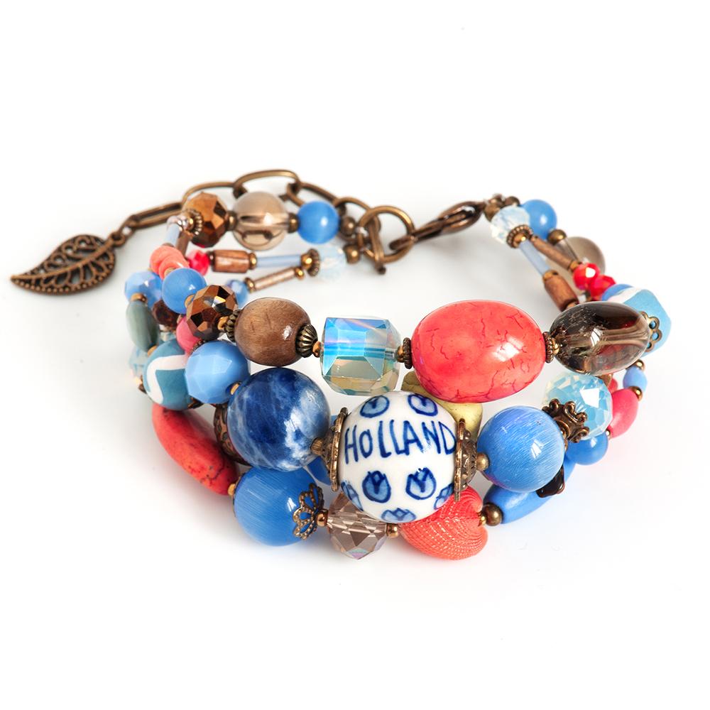 Браслет Selena, цвет: голубой, коралловый. 4006100040061000