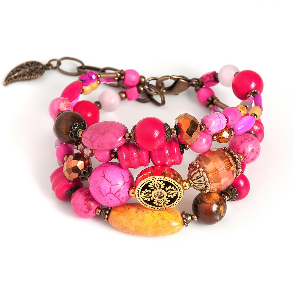 Браслет Selena, цвет: оранжевый, фуксия. 4006131040061310