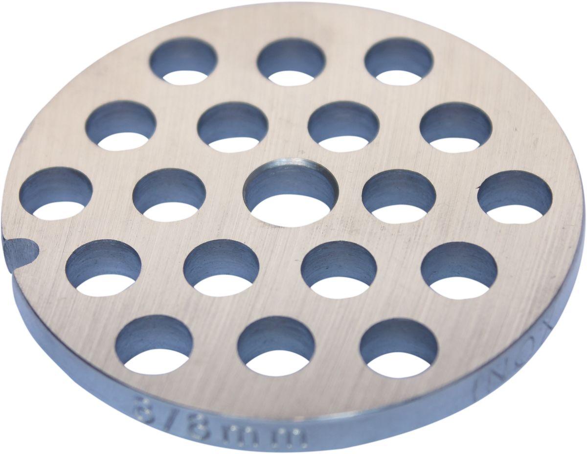 Euro Kitchen EUR-GR-8 Zelmer решетка для мясорубкиEUR-GR-8 ZelmerРешетка Euro Kitchen EUR-GR-8 предназначена для работы с электрическими мясорубками марки Zelmer. Она с легкостью заменит фирменную деталь, не уступив ей по качеству и сроку службы. Высокая производительность и долгий срок службы современных электрических и ручных мясорубок зависят, в первую очередь, от режущих механизмов и их выработки. Своевременная профилактика и замена режущих и вспомогательных элементов способствуют уменьшению нагрузки на узлы и другие механизмы, гарантируя долгую и качественную работу вашей мясорубки. Диаметр отверстий в решетке: 8 мм
