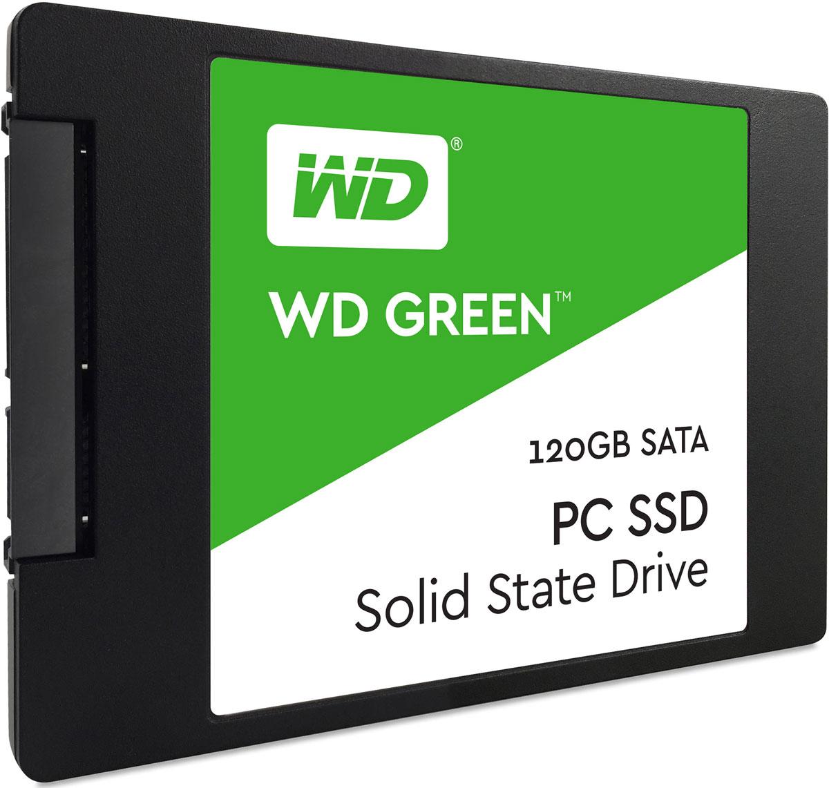 WD Green 120GB SSD-накопитель (WDS120G1G0A)WDS120G1G0AБлагодаря высокому быстродействию и надежности твердотельных накопителей WD Green повседневные задачи на ноутбуках и настольных ПК выполняются значительно быстрее. Благодаря высокому быстродействию за счет использования в WD Green твердотельного SATA-накопителя просмотр веб-страниц, игры или просто запуск системы будут происходить в мгновение ока. Легкие и ударостойкие твердотельные накопители WD Green не содержат подвижных частей, благодаря чему данным не страшны случайные удары или падения накопителя. Твердотельные накопители WD Green — одни из самых экономных накопителей в отрасли. Благодаря низкому потреблению энергии ноутбук сможет проработать дольше. Доступная для скачивания панель мониторинга SSD-накопителей WD предоставляет набор инструментов, с помощью которых можно в любой момент проверить доступную емкость, работоспособность, температуру, атрибуты SMART и другие параметры своего твердотельного накопителя. На каждый...