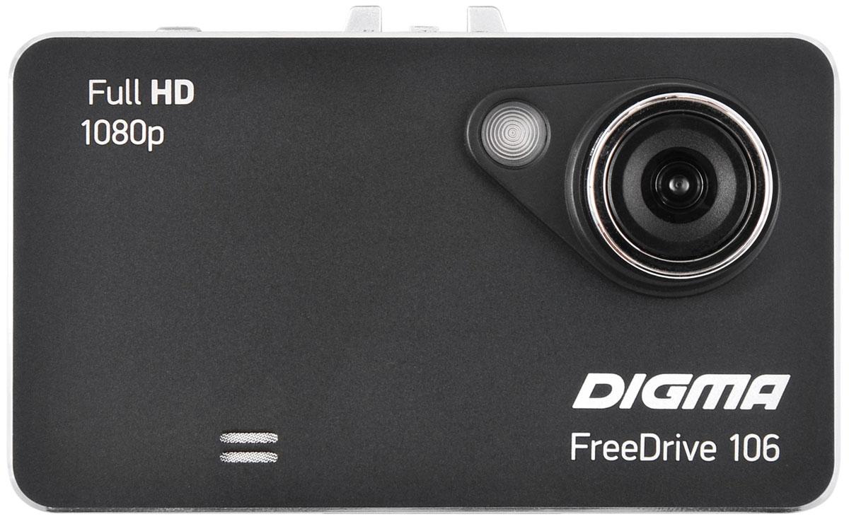 Digma Freedrive 106, Black видеорегистраторFREEDRIVE 106Видеорегистратор Digma FreeDrive 106 отличается удобной конструкцией: все кнопки управления вынесены на тыльную сторону. Данная модель оснащена широкоугольным объективом (с углом обзора 120°), динамиком и микрофоном, что гарантирует запись полной картины в любой дорожной ситуации. Регистратор Digma FreeDrive 106 записывает видео в Full HD-качестве (1080p) и оборудован датчиками движения и удара. Поддержка карт памяти формата microSD объемом до 32 ГБ обеспечивает бесперебойную съемку и дальнейшее хранение файлов. Видеорегистратор питается от автомобильного прикуривателя или встроенного резервного аккумулятора емкостью 240 мАч. Процессор: GP1248