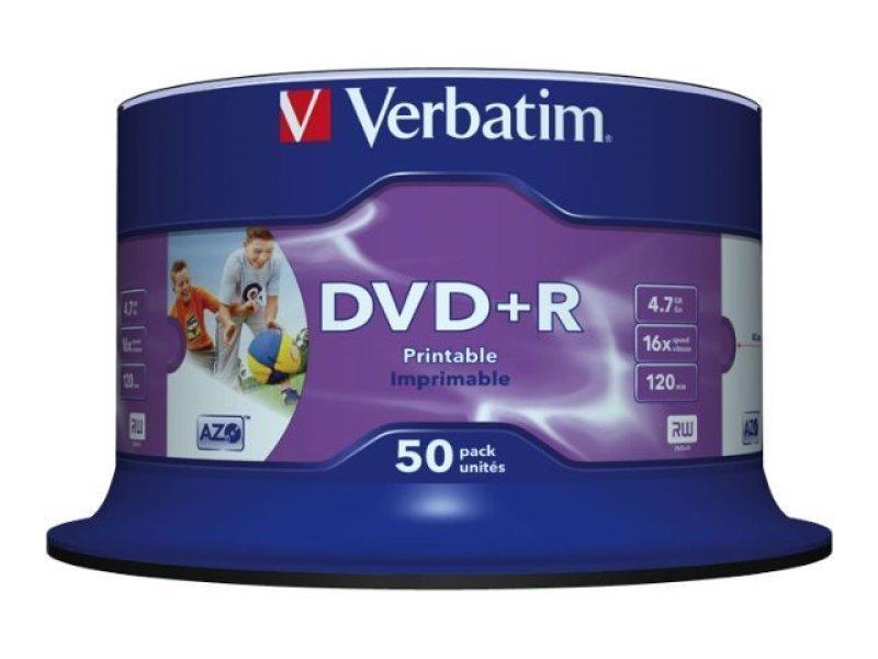 Диск DVD+R Verbatim 4.7Gb 16x Cake Box InkJet Printable (50 шт)