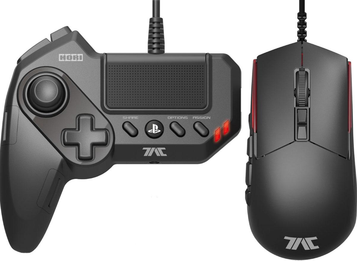 Hori T.A.C. Grips геймпад + игровая мышьACPS479Hori T.A.C. Grips - профессиональный игровой комплект, состоящий из геймпада для левой руки и мыши с высоким разрешением сенсора, разработанный специально для PS3 или PS4. Позволяет сделать управление игровой консолью похожим на управление игровым компьютером в плане использования мыши. Отличная мышь с оптическим сенсором, программируемые клавиши геймпада и сенсорная панель - всё, что нужно заядлому геймеру. Переназначаемые кнопки Официальная лицензия Sony