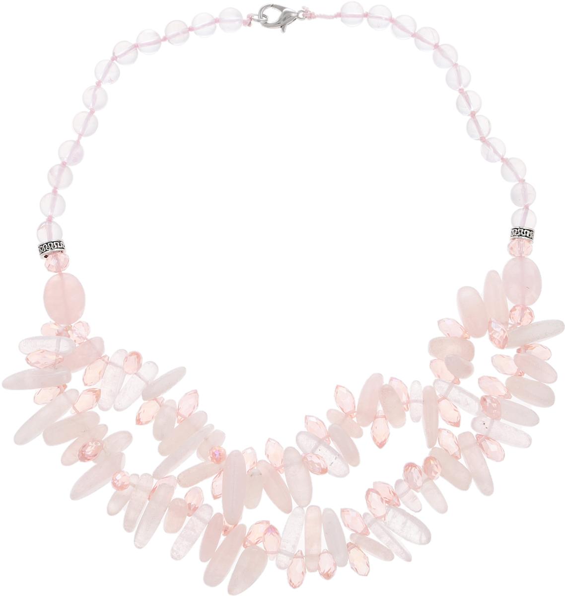 Колье Романтика. Натуральный розовый кварц, бусины. Индия10102701Колье Романтика. Натуральный розовый кварц, бусины. Индия. Размер - полная длина 46 см.