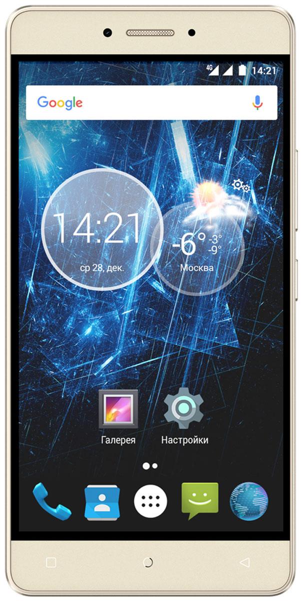 Highscreen Power Ice Max, Gold23829Highscreen Power Ice Max — Hi-Tech и искусство в одном смартфоне. Отличительная особенность серии Power – батарея с рекордной ёмкостью, которая позволяет использовать все возможности твоего смартфона. Смартфон оснащен восьмиядерным процессором MediaTek MT6750. Он стал еще более энергоэффективным и производительным, в совокупности с 3 ГБ оперативной памяти способен удовлетворить все ваши потребности. Устройство имеет 32 ГБ встроенной памяти, а также слот для карты памяти microSD. Смартфон обладает потрясающим 5.3'' экраном, выполненным по технологии InCell. Он очень яркий и контрастный, передает максимально правильные цвета и имеет превосходные углы обзора. Вам будет очень приятно читать, смотреть фильмы и играть на этом телефоне. Благодаря простому приложению смартфон можно использовать как универсальный пульт дистанционного управления и смотреть потоковое или IP- телевидение. LTE-Advanced (Cat.6) способен обеспечить наивысшую скорость...