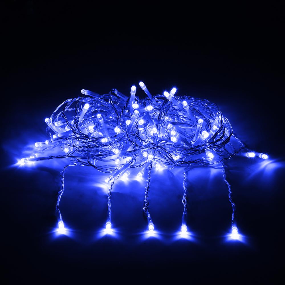 Гирлянда электрическая Vegas Занавес, с контроллером, 156 ламп, длина 1,5 м, свет: синий. 5508155081Светодиодные гирлянды для домашнего пользования VEGAS Электрогирлянда Занавес 156 синих LED ламп, 12 нитей, контроллер 8 режимов, прозрачный провод, 1,5*1,5 м, 220 v /20