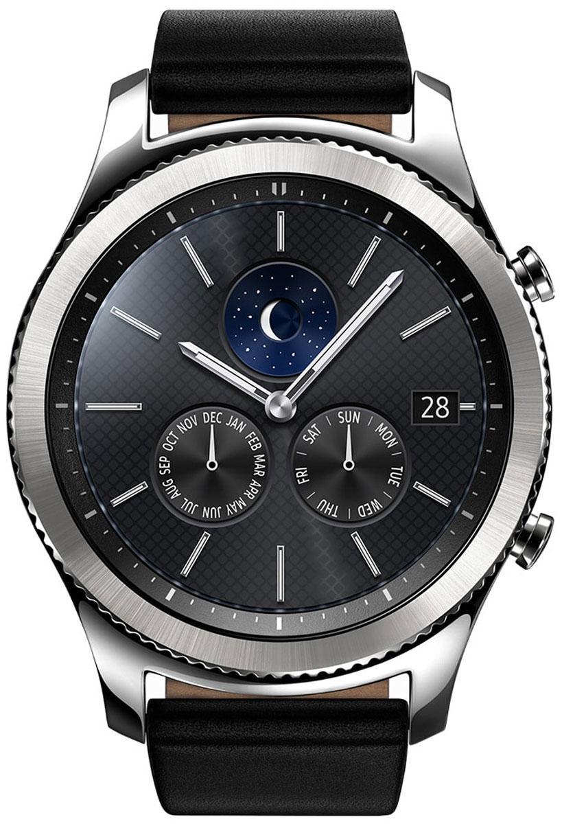 Samsung Gear S3 Classic, Silver смарт-часыSM-R770NZSASERSamsung Gear S3 Classic - современная классика на вашем запястье, сочетание винтажного дизайна и современных технологий. Риски на безель нанесены с помощью лазера. Кнопки, выполненные в стиле классических заводных головок, гармонично дополняют дизайн корпуса. Gear S3 classic созданы с использованием сплава из нержавеющей стали 316L, обеспечивающей высокий уровень защиты. Gear S3 classic созданы, чтобы вы могли пользоваться ими несколько дней без подзарядки и подключения к смартфону. Gear S3 Classic вобрали в себя все самое лучшее от традиционных часов и инновационных устройств. Достаточно одного взгляда, чтобы оценить их потрясающий дизайн. А удобный ремешок, уникальный крутящийся безель, четкий циферблат и мощный аккумулятор делают смарт-часы такими удобными в использовании и позволяют пользоваться ими до 4-х дней без подзарядки. Обновленный полноцветный всегда активный экран практически неотличим от классического циферблата. Выбирайте интерфейс,...