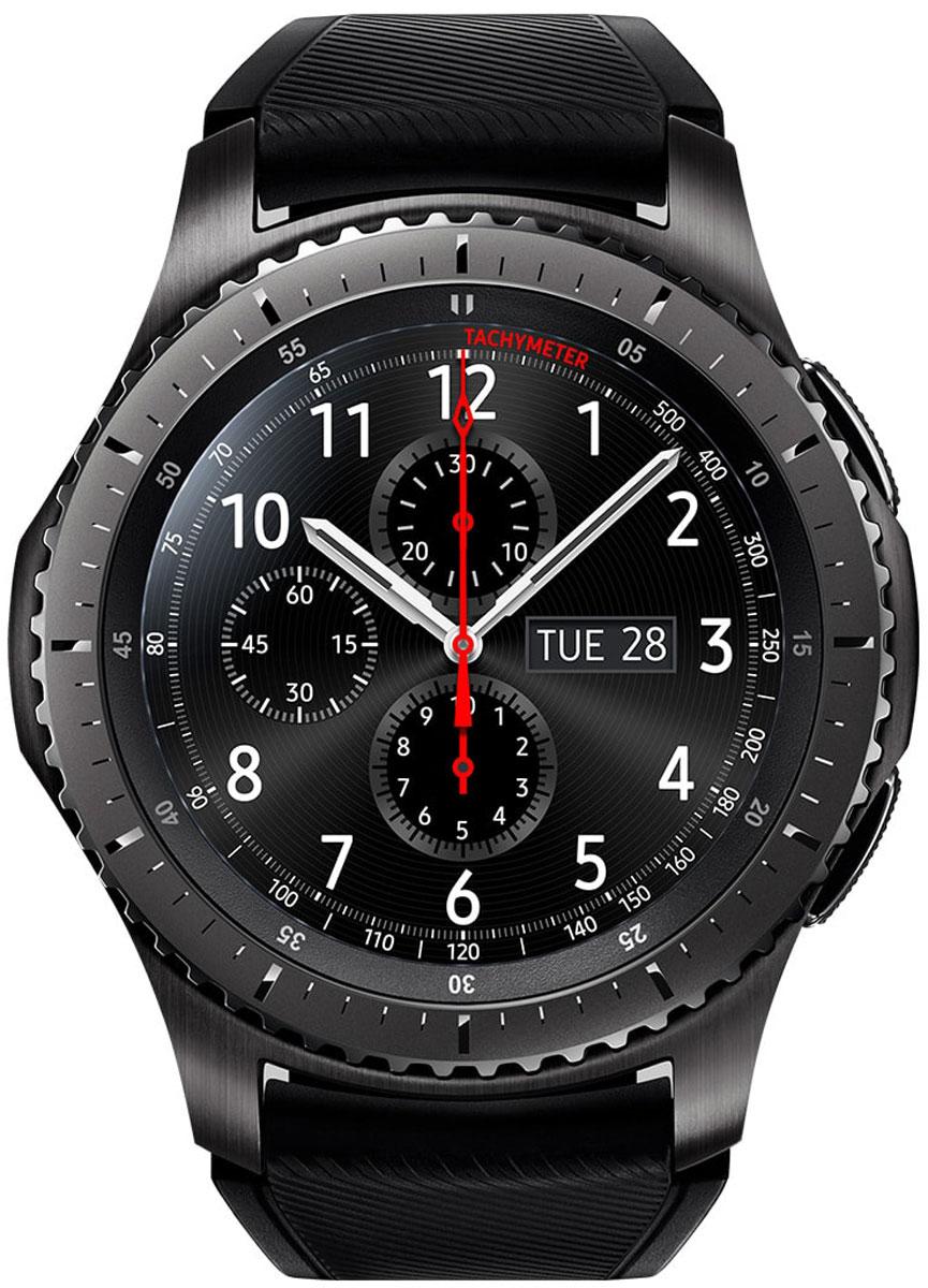 Samsung Gear S3 Frontier, Dark Grey смарт-часыSM-R760NDAASERВедите активный образ жизни вместе с Samsung Gear S3 Frontier. Умные часы объединяют в себе исключительный стиль и надежность. Оснащенные корпусом из сплава нержавеющей стали 316L, защищенные от ударов, они работают даже при высоких и низких температурах. Лазерная гравировка на рифленом безеле не только подчеркивает уникальный дизайн, но и делает их использование более удобным. Gear S3 Frontier вобрали в себя все самое лучшее от традиционных часов и инновационных устройств. Достаточно одного взгляда, чтобы оценить их потрясающий дизайн. А удобный ремешок, уникальный крутящийся безель, четкий циферблат и мощный аккумулятор делают смарт-часы такими удобными в использовании и позволяют пользоваться ими до 4-х дней без подзарядки. Обновленный полноцветный всегда активный экран практически неотличим от классического циферблата. Выбирайте интерфейс, который подходит вам. В часы уже загружены 15 вариантов дизайна экрана, а в Galaxy Apps вы найдете еще...
