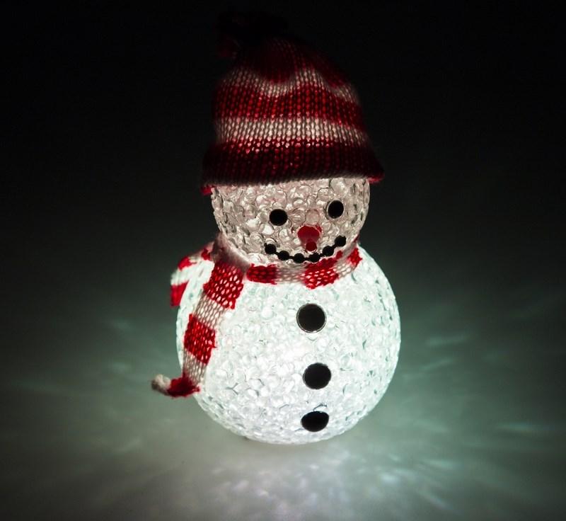 Фигура светодиодная Neon-Night Снеговик, 10 см513-019Фигура светодиодная Снеговик выполнена из материала EVA, который визуально напоминает акрил, но при этом не является таким хрупким. В фигуре расположен 1 сверхяркий свеодиод с цветом свечения RGB. Маленькая светящаяся фигурка высотой 10см создаст отличное новогоднее настроение для ваших детей.