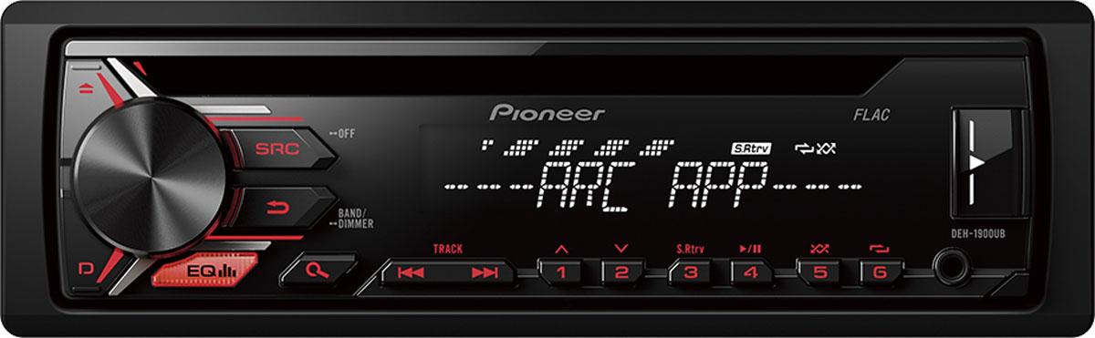 Pioneer DEH-1900UB автомагнитола1025095Автомобильная магнитола Pioneer DEH-1900UB с потрясающей красной подсветкой, которая позволяет слушать музыку с FM радиостанций, CD-дисков, Android смартфонов, USB-устройств или устройств, подключенных через Aux-вход. Встроенный усилитель MOSFET с выходной мощностью 4 х 50 Вт позволяет воспроизводить музыку в высоком качестве . Для того, чтобы увеличить мощность, можно воспользоваться RCA выходом на тыловой панели устройства для подключения дополнительного сабвуфера или усилителя.