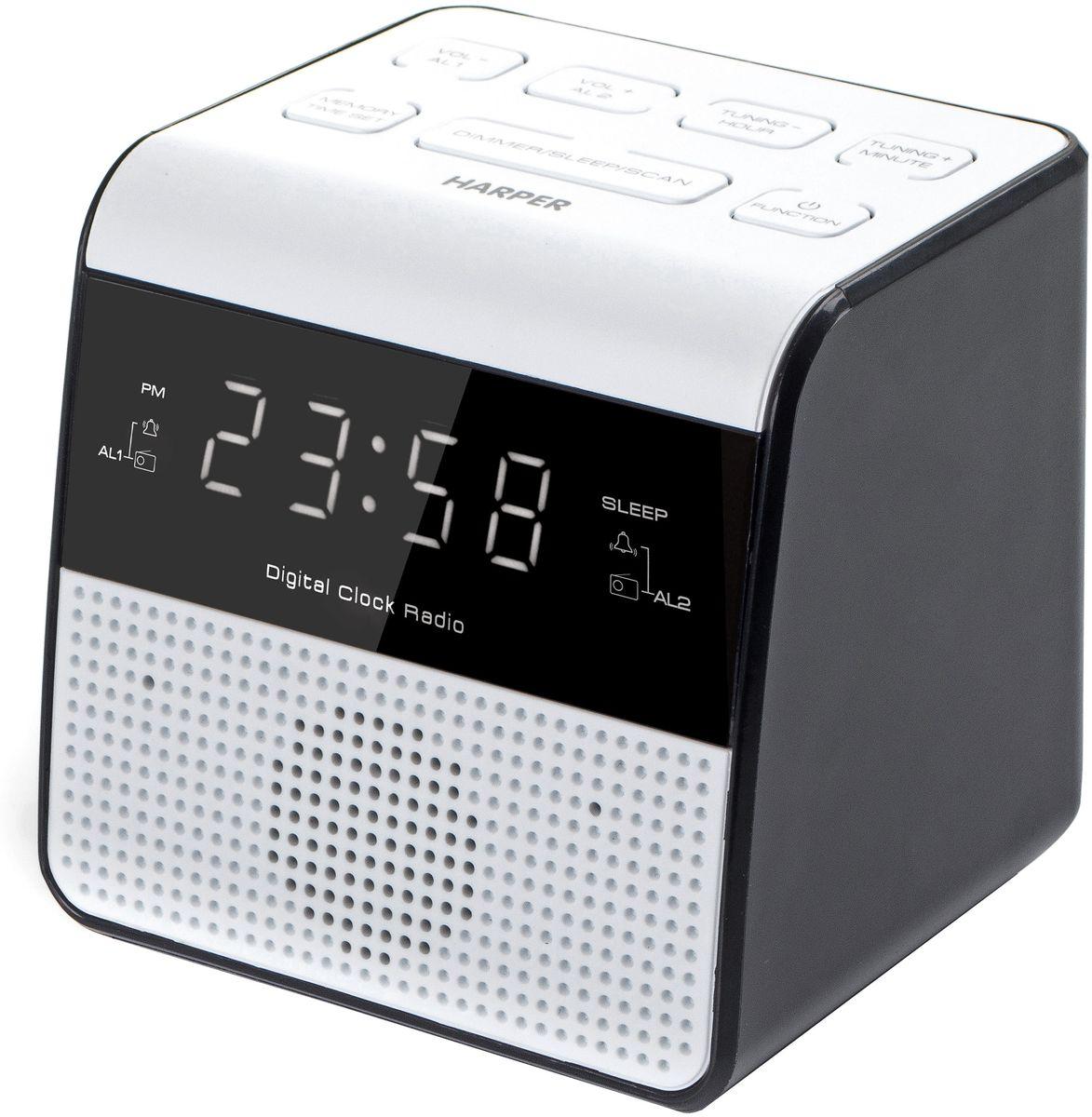 Harper HRCB-7760, White радиобудильникH00001165Harper представляет радиобудильник HRCB-7760 в изящном белом корпусе. Главными особенностями модели являются: - LED дисплей - USB зарядка 1,0А - FM радио (ручная или автоматическая настройка станций)