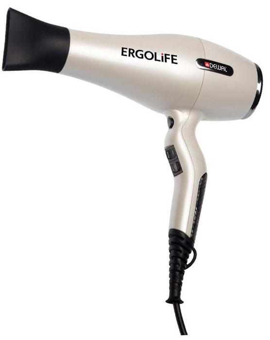 Dewal 03-001 ErgoLife, White фен03-001 WhiteПрофессиональный фен Dewal 03-001 Ergolife выполнен в жемчужно-белом цвете с покрытием Soft Touch. Индивидуальный стиль фена подчеркивают змеиная вставка на ручке и металлические элементы на корпусе. Особенность фена Ergolife - улучшенная эргономика благодаря изогнутой форме ручки. Она создает идеальную сбалансированность, фен очень удобно держать в руках. Кнопки переключения температурных режимов находятся спереди, что дает дополнительное удобство во время работы. Мощный мотор - до 8 часов непрерывной работы; Высокая скорость воздушного потока. Корпус фена разработан с учетом оптимизации расхода воздуха; Защита от перегрева Stop-heat. Защитный механизм на нагревательном элементе фена охлаждает корпус , сохраняет мотор, защищая его от перегрева, а также поддерживает оптимальную температуру для волос.