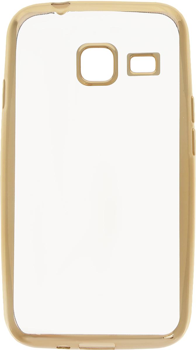 Skinbox 4People Silicone Chrome Border чехол-накладка для Samsung Galaxy J1 mini (2016), Gold2000000105512Чехол-накладка Skinbox 4People Silicone Chrome Border для Samsung Galaxy J1 mini (2016) обеспечивает надежную защиту корпуса смартфона от механических повреждений и надолго сохраняет его привлекательный внешний вид. Накладка выполнена из высококачественного силикона, плотно прилегает и не скользит в руках. Чехол также обеспечивает свободный доступ ко всем разъемам и клавишам устройства.