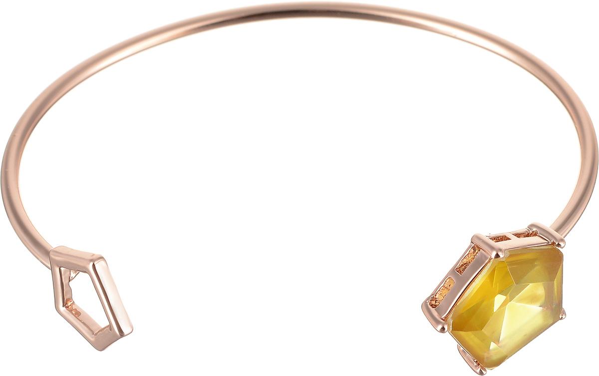 Браслет Selena Medea, цвет: желтый, золотистый. 4007852040078520Браслет Selena  Medea изготовлен из латуни с гальваническим покрытием золотом и декорирован вставкой с кристаллом Preciosa. Жесткая лаконичная конструкция делает женское запястье нежным и хрупким. Коллекция Medea - универсальное решение как для праздничного, так и для делового гардероба. Эти украшения никогда не перетягивают внимания на себя, подчеркивая естественность и выгодно оттеняя красоту и элегантность. Украшения Медея - это стильная и лаконичная классика, изделия, которые выглядят как дорогие дизайнерские ювелирные украшения.