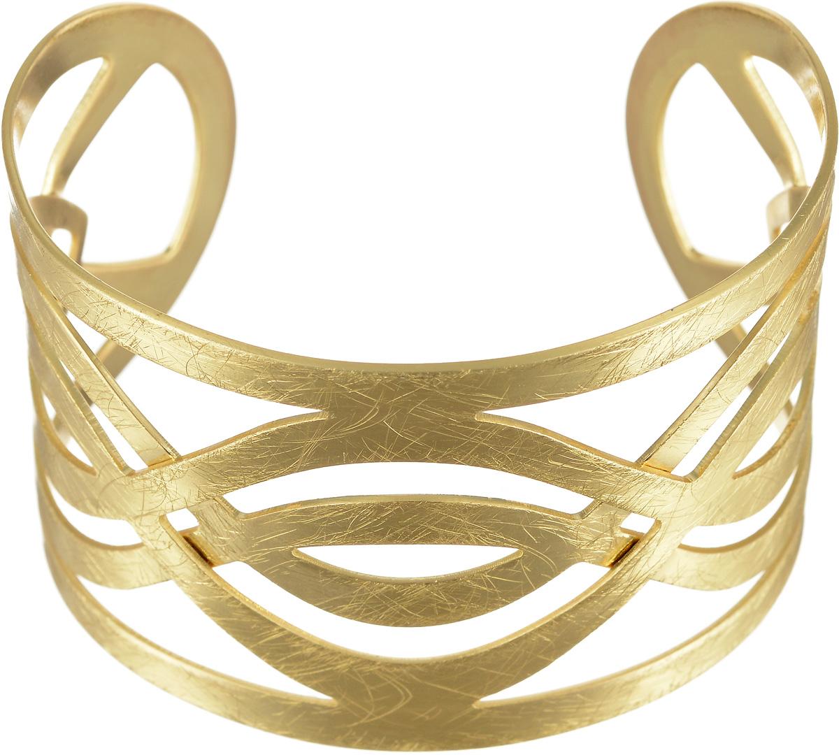 Браслет Selena Afrodita, цвет: золотистый. 4007830040078300Браслет Selena Afrodita выполнен из латуни с гальваническим покрытием золотом. Жесткая конструкция изделия делает женское запястье нежным и хрупким. Надев его, вы всегда будете в центре внимания. Греческий стиль - прямые силуэты, струящиеся однотонные ткани, сандалии - модный тренд последнего времени. И конечно, греческий образ будет незавершенным без специально подобранных украшений. Изделия из коллекции Afrodita - это не просто классические украшения, а выразительные аксессуары с характером, которые обращают на себя внимание.