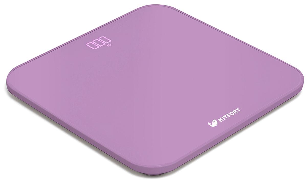 Kitfort КТ-802-2, Purple весы напольныеКТ-802-2Электронные напольные весы Kitfort КТ-802 обеспечат высокую точность измерения и станут неизменным спутником для людей, следящих за своим весом. Весы оснащены большим LED дисплеем с крупными цифрами, что делает их использование максимально удобным. Платформа выполнена из высокопрочного полированного стекла, а прорезиненные ножки обеспечивают весам дополнительную устойчивость и предотвращают их скольжение по полу, что гарантирует безопасность во время взвешивания. Включение и выключение весов Kitfort КТ-802 происходит автоматически. При взвешивании показания весов фиксируются для вашего удобства. При каждом включении весы самостоятельно калибруются и тарируются для обеспечения большей точности показаний. Для электропитания используются 4 батарейки типа ААА. Весы имеют яркий привлекательный дизайн, благодаря чему украсят собой любой интерьер.