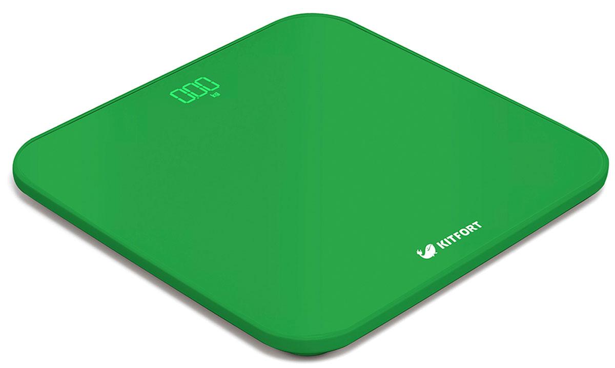 Kitfort КТ-802-3, Green весы напольныеКТ-802-3Электронные напольные весы Kitfort КТ-802 обеспечат высокую точность измерения и станут неизменным спутником для людей, следящих за своим весом. Весы оснащены большим LED дисплеем с крупными цифрами, что делает их использование максимально удобным. Платформа выполнена из высокопрочного полированного стекла, а прорезиненные ножки обеспечивают весам дополнительную устойчивость и предотвращают их скольжение по полу, что гарантирует безопасность во время взвешивания. Включение и выключение весов Kitfort КТ-802 происходит автоматически. При взвешивании показания весов фиксируются для вашего удобства. При каждом включении весы самостоятельно калибруются и тарируются для обеспечения большей точности показаний. Для электропитания используются 4 батарейки типа ААА. Весы имеют яркий привлекательный дизайн, благодаря чему украсят собой любой интерьер.