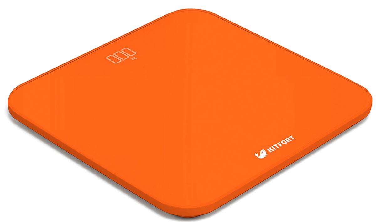 Kitfort КТ-802-4, Orange весы напольныеКТ-802-4Электронные напольные весы Kitfort КТ-802 обеспечат высокую точность измерения и станут неизменным спутником для людей, следящих за своим весом. Весы оснащены большим LED дисплеем с крупными цифрами, что делает их использование максимально удобным. Платформа выполнена из высокопрочного полированного стекла, а прорезиненные ножки обеспечивают весам дополнительную устойчивость и предотвращают их скольжение по полу, что гарантирует безопасность во время взвешивания. Включение и выключение весов Kitfort КТ-802 происходит автоматически. При взвешивании показания весов фиксируются для вашего удобства. При каждом включении весы самостоятельно калибруются и тарируются для обеспечения большей точности показаний. Для электропитания используются 4 батарейки типа ААА. Весы имеют яркий привлекательный дизайн, благодаря чему украсят собой любой интерьер.