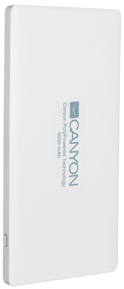 Canyon CNS-TPBP5W, White внешний аккумулятор (5000 мАч)CNS-TPBP5WCanyon CNS-TPBP5 - настоящая находка для владельцев iPhone! Этот ультратонкий литий-полимерный внешний аккумулятор оснащен входом для lightning кабеля, а значит вам не нужно носить два провода: microUSB для зарядки аккумулятора и lightning для зарядки iPhone. Аккумулятор такой маленький и тонкий, что вы просто не почувствуете его в вашем кармане или сумке. С помощью двух USB-выходов он может заряжать два устройства одновременно. Емкости батареи должно хватить на 2 цикла заряда среднестатистического смартфона. По сравнению с обычными литий-ионными, литий-полимерные батареи тоньше, легче и меньше теряют заряд. Наслаждайтесь преимуществами новых технологий!