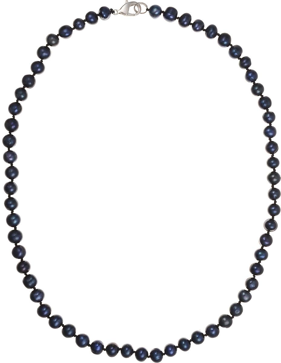 Бусы Art-Silver, цвет: синий, длина 50 см. КЖ7-8А50-464КЖ7-8А50-464Бусы Art-Silver подчеркнут изящество и непревзойденный вкус своей обладательницы. Они выполнены из бижутерного сплава и культивированного жемчуга диаметром 7 мм. Изделие оснащено удобным замком-карабином. Культивированный жемчуг — это практичный аналог природного жемчуга. Бусинки из прессованных раковин помещаются внутрь устрицы и возвращаются в воду. Когда бусины покрываются перламутром, их извлекают из моллюска. Форма жемчужины получается идеально ровной с приятным матовым блеском.