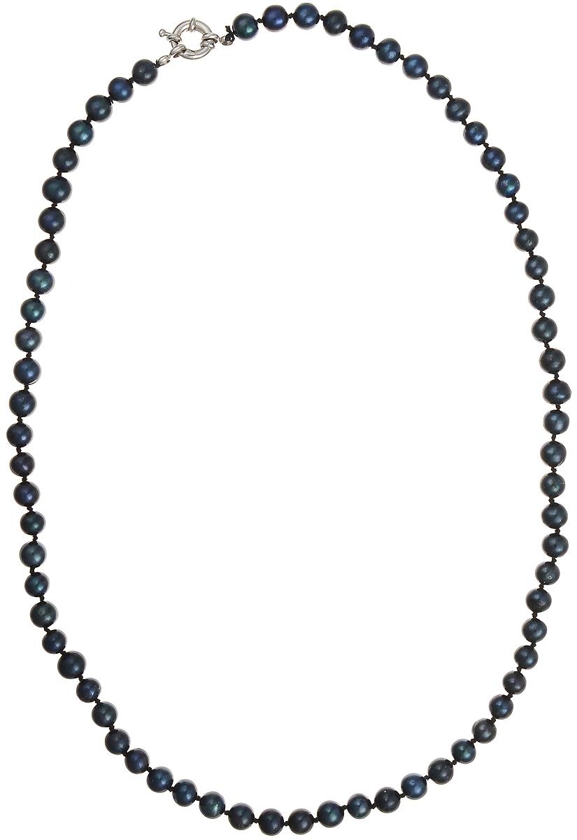 Бусы Art-Silver, цвет: синий, длина 55 см. КЖ7-8А55-513КЖ7-8А55-513Бусы Art-Silver подчеркнут изящество и непревзойденный вкус своей обладательницы. Они выполнены из бижутерного сплава и культивированного жемчуга диаметром 7 мм. Изделие оснащено удобным замком-карабином. Культивированный жемчуг — это практичный аналог природного жемчуга. Бусинки из прессованных раковин помещаются внутрь устрицы и возвращаются в воду. Когда бусины покрываются перламутром, их извлекают из моллюска. Форма жемчужины получается идеально ровной с приятным матовым блеском.