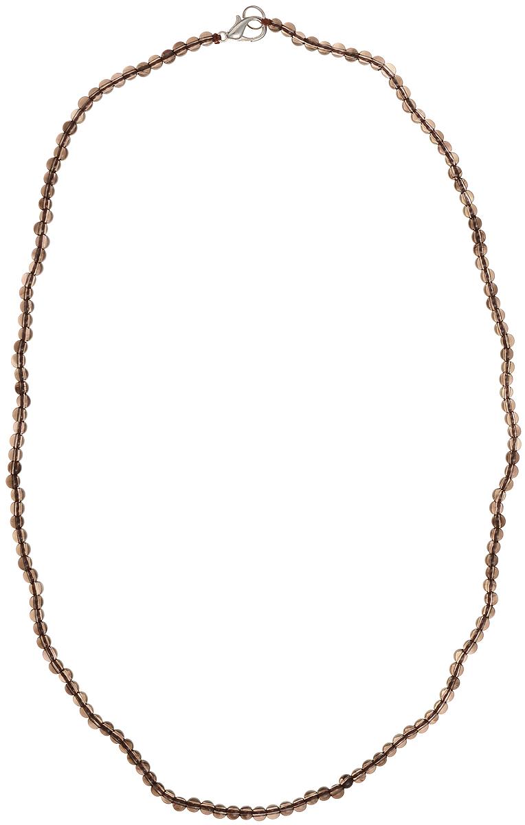 Бусы Art-Silver, цвет: коричневый, длина 55 см. РТ4-55-362РТ4-55-362Бусы Art-Silver подчеркнут изящество и непревзойденный вкус своей обладательницы. Они выполнены из бижутерного сплава и раухтопаза диаметром 3 мм. Изделие оснащено удобным замком-карабином. Раухтопаз (дымчатый кварц) является наиболее ценной разновидностью кварца и, по древним преданиям, выводит из организма негативную энергию, злобу и раздражение. Это один из самых «энергетических» темных камней. Минерал отличается необычной природной окраской, обладает особой утончённой эстетикой и аурой. Украшения с раухтопазами всегда смотрятся респектабельно и элегантно.