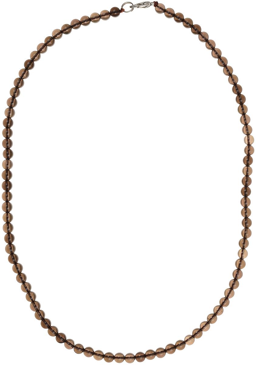 Бусы Art-Silver, цвет: коричневый, длина 50 см. РТ6-50-351РТ6-50-351Бусы Art-Silver подчеркнут изящество и непревзойденный вкус своей обладательницы. Они выполнены из бижутерного сплава и раухтопаза диаметром 5 мм. Изделие оснащено удобным замком-карабином. Раухтопаз (дымчатый кварц) является наиболее ценной разновидностью кварца и, по древним преданиям, выводит из организма негативную энергию, злобу и раздражение. Это один из самых «энергетических» темных камней. Минерал отличается необычной природной окраской, обладает особой утончённой эстетикой и аурой. Украшения с раухтопазами всегда смотрятся респектабельно и элегантно.