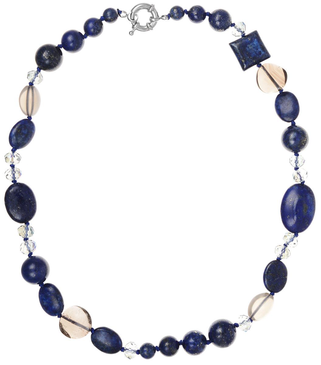 Бусы Art-Silver, цвет: синий, длина 45 см. СМЦ74-1-456СМЦ74-1-456Бусы Art-Silver выполнены из лавы, кварца и кристаллов. В этих бусах вы всегда будете выглядеть женственно, привлекательно и оригинально. Объемная фактура придаст изящества женской шее. Изделие оснащено удобным замком-карабином. Каменные бусины из лавы, нанизанные на нить - это больше, чем просто украшение. В них соединились силы стихии земли, огня и воздуха. У вулканических камней богатая история. Еще в древние времена их использовали шаманы для обрядов и заговоров. Считалось, что амулет из вулканического камня наделен огромной силой: он гармонизирует течение жизненных сил, успокаивает и направляет в правильное русло внутреннюю энергию человека.