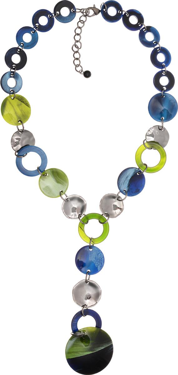 Колье Selena Accenta, цвет: зеленый, синий. 1010266110102661Колье Selena Accenta изготовлено из латуни с гальваническим покрытием золотом и ацетата. Изделие оснащено удобным замком-карабином. Итальянский ацетат - это дорогой высококачественный полимер, широко применяемый в модной индустрии. Он обладает удивительной особенностью имитировать самые разные природные рисунки и фактуры. Коллекция Accenta - это гимн современности! Модели выполнены в стиле элегантный кэжуал и глэм-рок, они органично впишутся в образ и молодых девушек, и взрослых женщин, чьи взгляды на моду свежи и открыты новому. Все украшения Accenta комплектуются между собой и создают гармоничный ансамбль. Украшения можно носить в любое время года, они уместны на празднике, на прогулке и на работе.