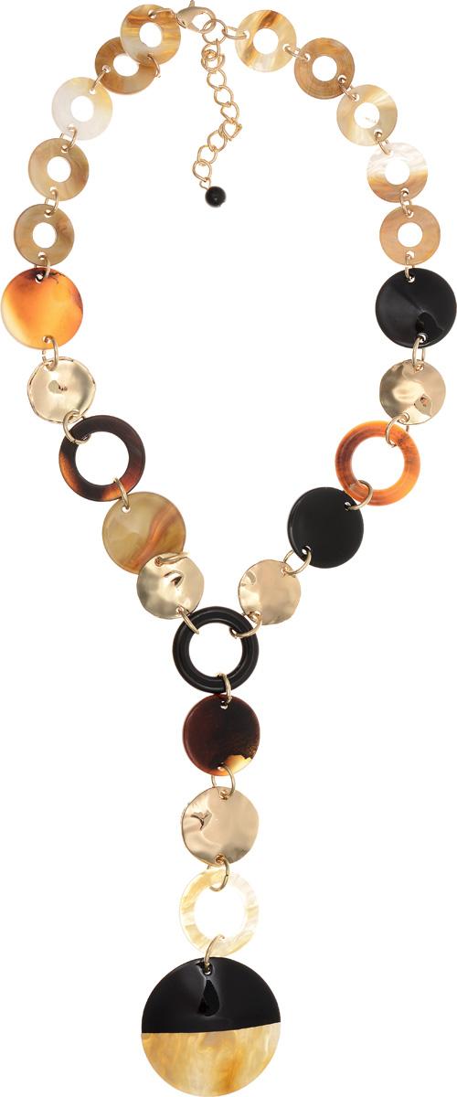 Колье Selena Accenta, цвет: золотистый, коричневый, черный. 1010265110102651Колье Selena Accenta изготовлено из латуни с гальваническим покрытием золотом и ацетата. Изделие оснащено удобным замком-карабином. Итальянский ацетат - это дорогой высококачественный полимер, широко применяемый в модной индустрии. Он обладает удивительной особенностью имитировать самые разные природные рисунки и фактуры. Коллекция Accenta - это гимн современности! Модели выполнены в стиле элегантный кэжуал и глэм-рок, они органично впишутся в образ и молодых девушек, и взрослых женщин, чьи взгляды на моду свежи и открыты новому. Все украшения Accenta комплектуются между собой и создают гармоничный ансамбль. Украшения можно носить в любое время года, они уместны на празднике, на прогулке и на работе.