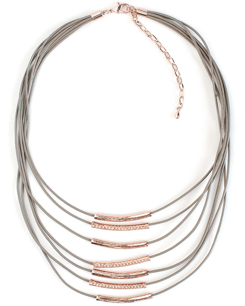 Колье Selena, цвет: бежевый, золотистый. 1010174110101741Натуральная кожа, кристаллы Preciosa, латунь. Гальваническое покрытие: золото.искусственная кожа