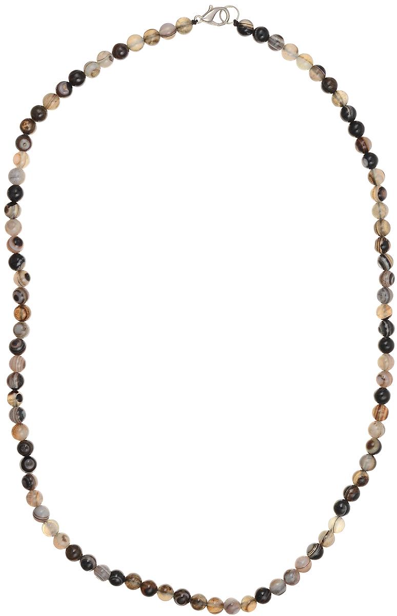 Бусы Art-Silver, цвет: коричневый, серый, длина 55 см. АП6-55-305АП6-55-305Бусы Art-Silver подчеркнут изящество и непревзойденный вкус своей обладательницы. Они выполнены из бижутерного сплава и бусин из полосатого агата диаметром 6 мм. Изделие оснащено удобным замком-карабином. Агаты отличаются необыкновенным разнообразием окрасок и рисунков, но все они приносят владельцу чувства уверенности, спокойствия, равновесия. Украшения из агата защитят вас от энергетических вампиров и принесут счастье. Бусы из этого благородного камня выглядят как произведение искусства. Такое украшение станет изюминкой вашего образа и добавит лоск и элегантность.