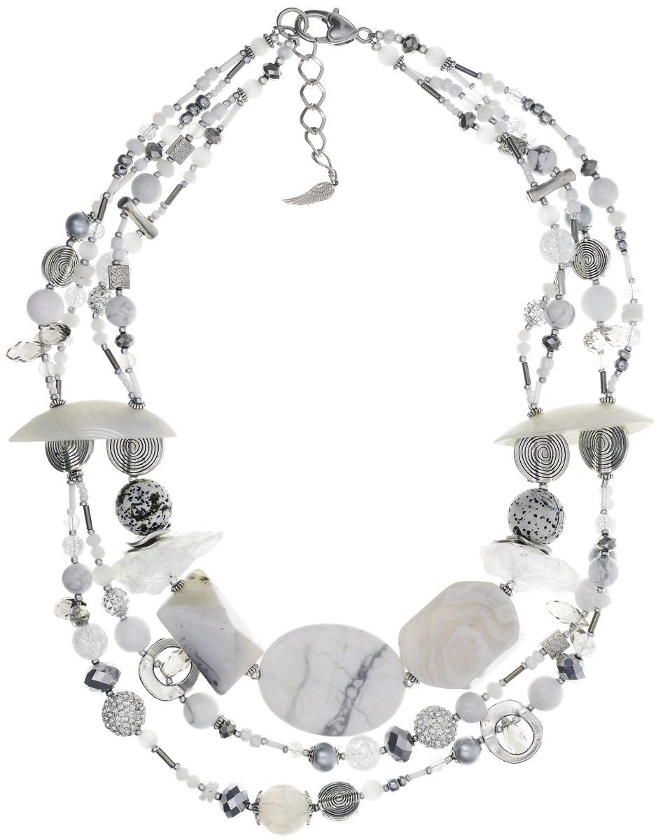 """Колье Selena """"Роман с камнем"""", цвет: белый, серый. 10103831 Selena Селена"""