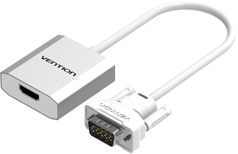 Vention ACEW0, Silver VGA-HDMI + аудио конвертер мультимедийныйACEW0Конвертер Vention ACEW0 преобразует аналоговый VGA видеосигнал в цифровой HDMI сигнал. Поддерживает передачу аудиосигнала. Таким образом вы можете подключить устройства со стандартом VGA к оборудованию с разъемом HDMI. Конвертер поддерживает технологию Plug and Play, тем самым, не требуя установки дополнительного программного обеспечения и драйверов. При подключении мониторов с большим разрешением, а также передаче видеосигнала посредством кабеля длиной более 3 метров, возможно, потребуется использование дополнительного питания через разъем microUSB. Поддержка разрешения до 1920x1080 Чип передатчик: MS9282