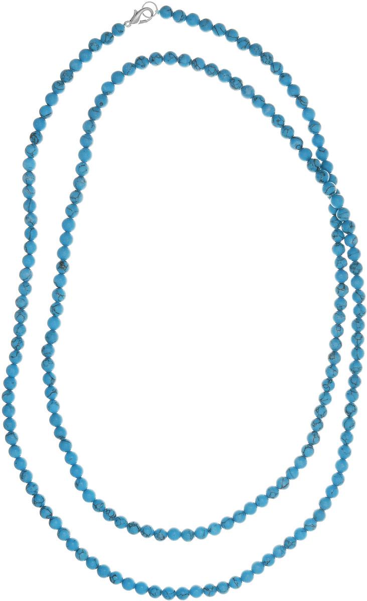 Бусы Art-Silver, цвет: голубой, длина 120 см. Б6-120-208Б6-120-208Бусы Art-Silver выполнены из бижутерного сплава и бирюзы. Изделие оснащено удобным замком-карабином.