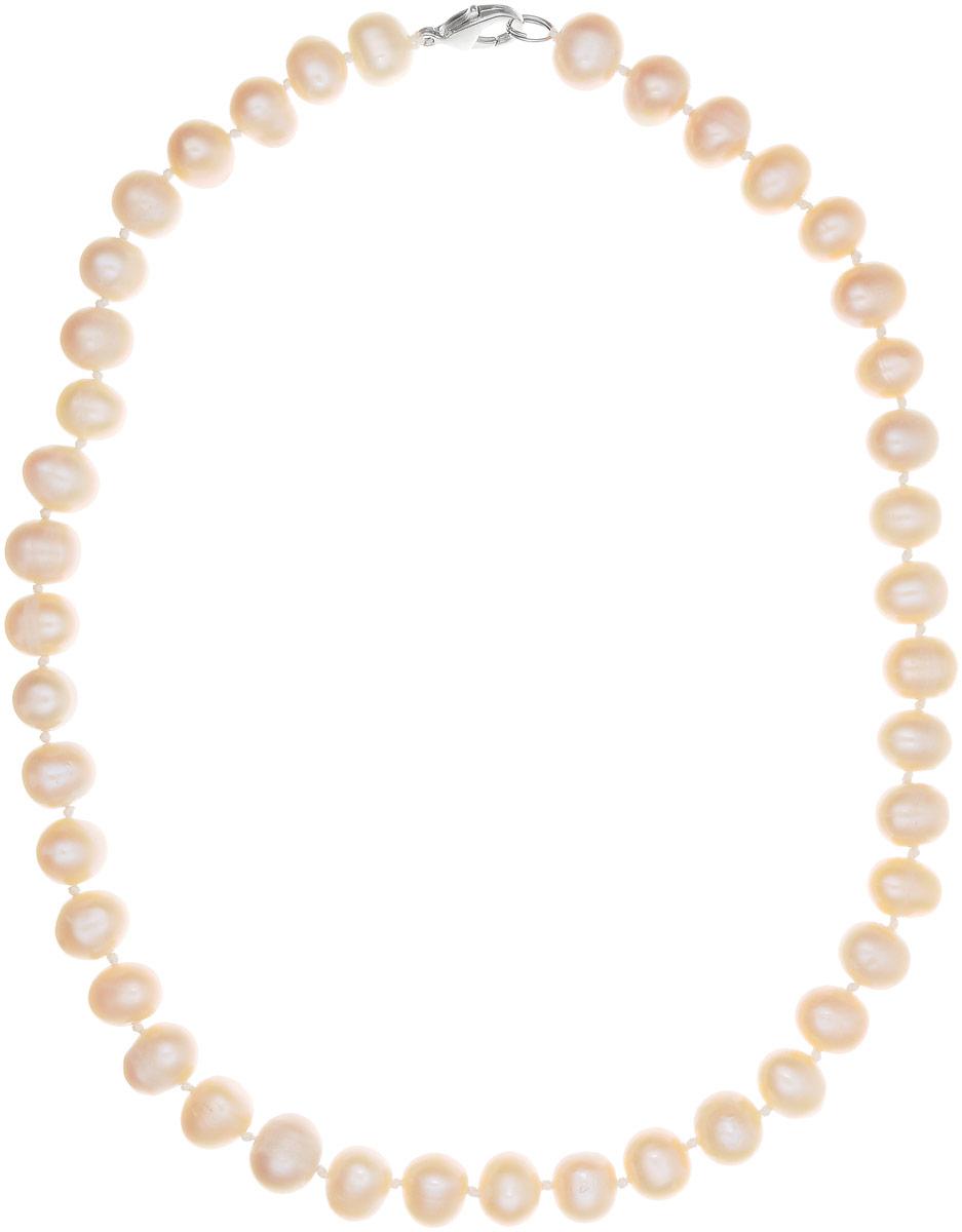 Бусы Art-Silver, цвет: пепельно-персиковый, длина 45 см. КЖр9-10А+45-464КЖр9-10А+45-464Бусы Art-Silver изготовлены из культивированного жемчуга. Изделие оформлено однотонными бусинами и застегивается на металлический замок- карабин.