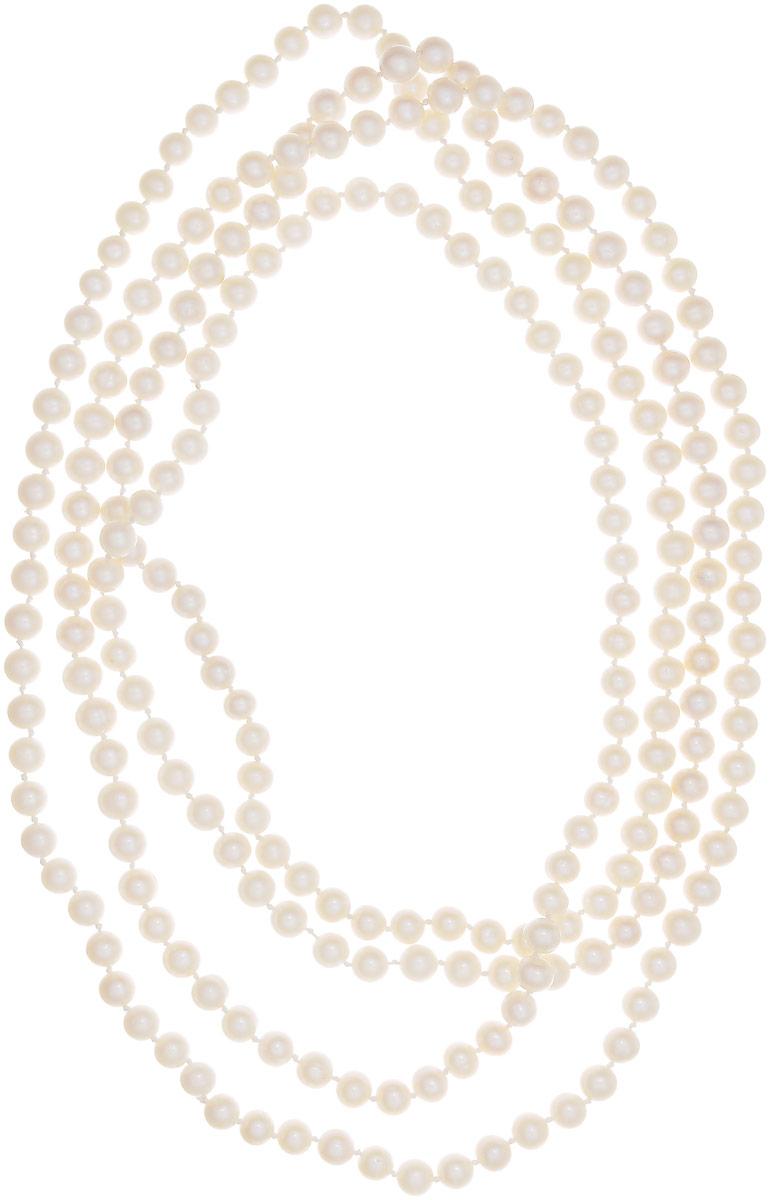 Бусы Art-Silver, цвет: белый, длина 200 см. КЖб8-9АА200-3740КЖб8-9АА200-3740Бусы Art-Silver выполнены из бижутерного сплава и культивированного жемчуга. Изделие без застежки.