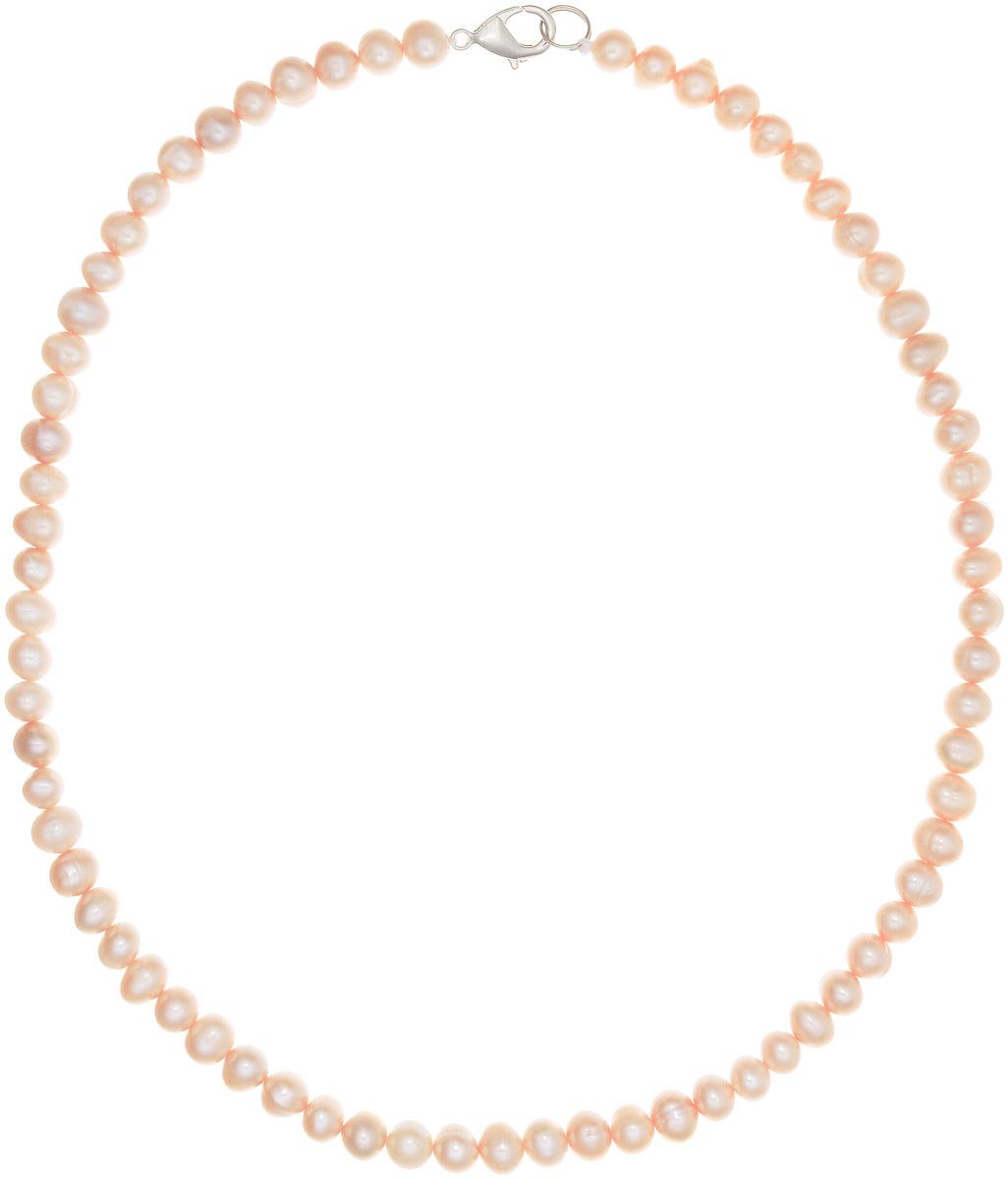 Бусы Art-Silver, цвет: персиковый, длина 45 см. КЖр6-7А+45-440КЖр6-7А+45-440Бусы Art-Silver выполнены из бижутерного сплава и культивированного жемчуга. Изделие оснащено удобным замком-карабином.
