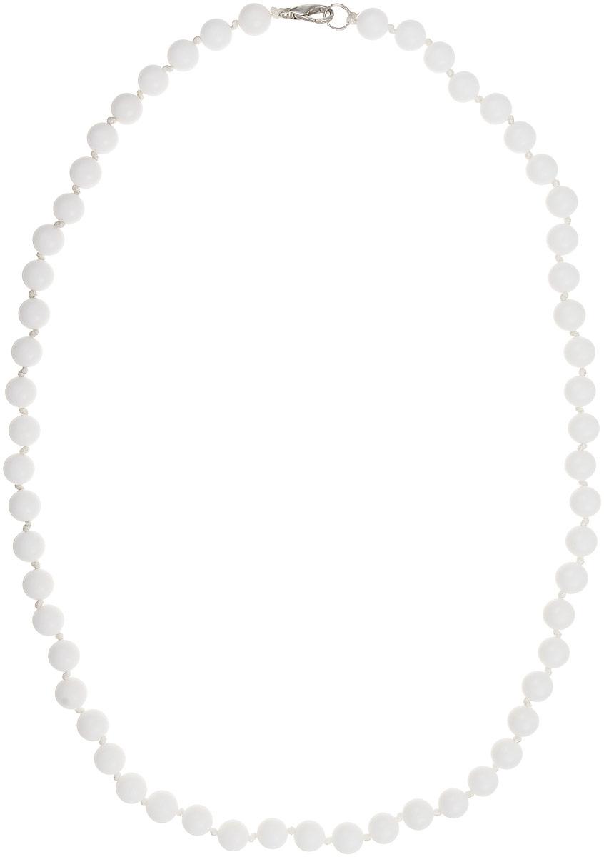 Бусы Art-Silver, цвет: белый, длина 55 см. КХ8-55-270КХ8-55-270Бусы Art-Silver изготовлены из кахолонга. Изделие оформлено однотонными бусинами и застегивается на металлический замок-карабин из бижутерного сплава.