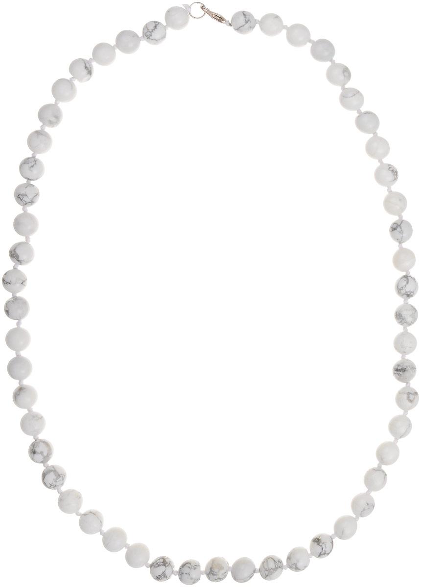 Бусы Art-Silver, цвет: белый, серый, длина 60 см. КХс10-60-423КХс10-60-423Бусы Art-Silver выполнены из натурального кахолонга, нанизанного на текстильную нить. Украшение имеет удобный замок-карабин из бижутерного сплава. Бусины диаметром 10 мм из кахолонга, который также называют калмыцким агатом, имеют характерные серые прожилки. Такие бусы превосходно подойдут как к вечерним, так и к повседневным нарядам.