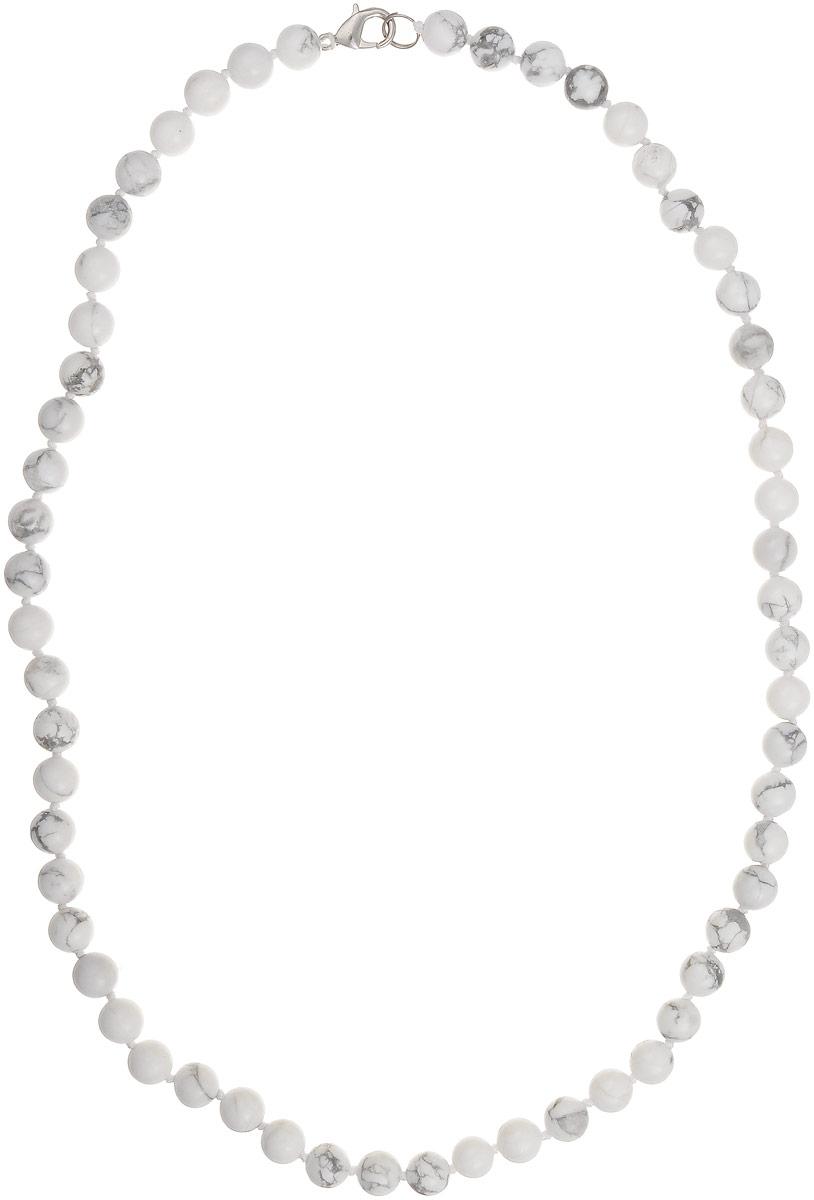 Бусы Art-Silver, цвет: серый, белый, длина 55 см. КХс8-55-282КХс8-55-282Бусы Art-Silver выполнены из бижутерного сплава и кахолонга. Изделие оснащено удобным замком-карабином.